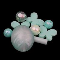 Gemischte Acrylperlen, Acryl, blau, 8mm-20x25x12mm, Bohrung:ca. 1-2mm, ca. 1000PCs/Tasche, verkauft von Tasche