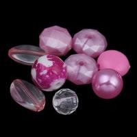 Gemischte Acrylperlen, gemischte Materialien, Rosa, 8x4mm-20x12mm, Bohrung:ca. 1-2mm, ca. 1000PCs/Tasche, verkauft von Tasche