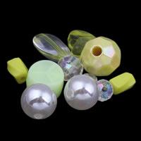 Gemischte Acrylperlen, gemischte Materialien, gelb, 6x10mm-20x12mm, Bohrung:ca. 1-2mm, ca. 1000PCs/Tasche, verkauft von Tasche