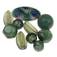 Gemischte Acrylperlen, Acryl, grün, 10mm-18x35x5mm, Bohrung:ca. 1-2mm, ca. 1000PCs/Tasche, verkauft von Tasche