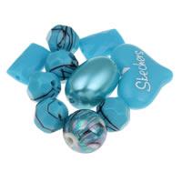 Gemischte Acrylperlen, gemischte Materialien, blau, 10mm-20x25x8mm, Bohrung:ca. 1-2mm, ca. 1000PCs/Tasche, verkauft von Tasche