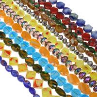 Gemischte Acrylperlen, gemischte Materialien, facettierte, 9x12x6mm-13x20x8mm, Bohrung:ca. 1mm, Länge:ca. 15.5 ZollInch, 10SträngeStrang/Tasche, ca. 25PCs/Strang, verkauft von Tasche
