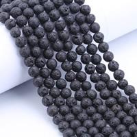 Natürliche Lava Perlen, rund, verschiedene Größen vorhanden, Bohrung:ca. 1mm, Länge:ca. 15 ZollInch, verkauft von Tasche