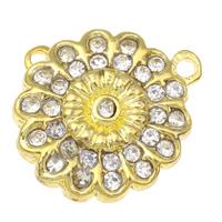Zinklegierung Magnetverschluss, Blume, goldfarben plattiert, mit Strass, frei von Blei & Kadmium, 23x7mm, Bohrung:ca. 2mm, 10PCs/Tasche, verkauft von Tasche