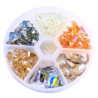 Flache runde Kristall Perlen, mit Kunststoff Kasten, facettierte, gemischte Farben, 77mm, 10x14mm
