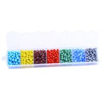 Kristall-Perlen, Kristall, mit Kunststoff Kasten, facettierte, gemischte Farben, 31x150mm, 4mm