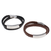 Unisex-Armband & Bangle, PU Leder, mit Edelstahl, mit Brief Muster & 2 strängig, keine, 40x12x6mm, verkauft per ca. 15.5 ZollInch Strang