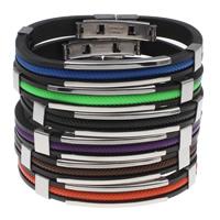 Unisex-Armband & Bangle, Edelstahl, mit Nylonschnur & Silikon, mit Brief Muster, keine, 39x9x5mm, verkauft per ca. 7.5 ZollInch Strang