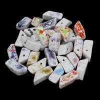 Porzellan Schmuckperlen, Trapez, glaciert, gemischte Farben, 12x29mm, Bohrung:ca. 2mm, 20PCs/Tasche, verkauft von Tasche