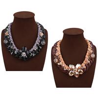 Mode Statement Halskette, Wollschnur, mit PU Leder & Kristall & Zinklegierung, mit Verlängerungskettchen von 3.9lnch, goldfarben plattiert, für Frau & facettierte, keine, frei von Nickel, Blei & Kadmium, 50mm, verkauft per ca. 18.1 ZollInch Strang