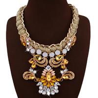 Mode Statement Halskette, Zinklegierung, mit Faser & Kristall & Harz, mit Verlängerungskettchen von 3.1lnch, goldfarben plattiert, für Frau & facettierte & mit Strass, frei von Nickel, Blei & Kadmium, 120mm, verkauft per ca. 18.8 ZollInch Strang