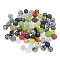 Porzellan Schmuckperlen, rund, glaciert, gemischte Farben, 12mm, Bohrung:ca. 1.5mm, 20PCs/Tasche, verkauft von Tasche