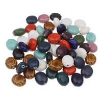 Porzellan Schmuckperlen, flachoval, glaciert, gemischte Farben, 16x18x9mm, Bohrung:ca. 1mm, 20PCs/Tasche, verkauft von Tasche
