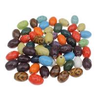 Porzellan Schmuckperlen, oval, glaciert, gemischte Farben, 15x21mm, Bohrung:ca. 3mm, 20PCs/Tasche, verkauft von Tasche