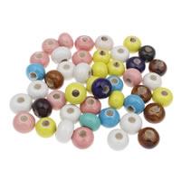 European Porzellan Perlen, Rondell, glaciert, großes Loch, gemischte Farben, 18x12mm, Bohrung:ca. 5mm, 20PCs/Tasche, verkauft von Tasche