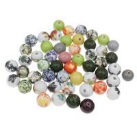 Porzellan Schmuckperlen, rund, gemischte Farben, 15mm, Bohrung:ca. 3mm, 20PCs/Tasche, verkauft von Tasche
