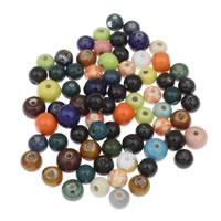 Porzellan Schmuckperlen, rund, gemischte Farben, 8-12mm, Bohrung:ca. 1mm, 20PCs/Tasche, verkauft von Tasche