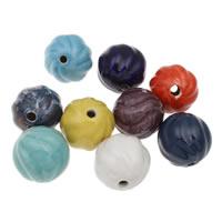 European Porzellan Perlen, rund, glaciert, gewellt, gemischte Farben, 32mm, Bohrung:ca. 5mm, 10PCs/Tasche, verkauft von Tasche