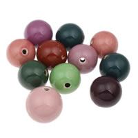 European Porzellan Perlen, rund, glaciert, gemischte Farben, 32-36mm, Bohrung:ca. 4mm, 10PCs/Tasche, verkauft von Tasche