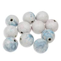 European Porzellan Perlen, rund, glaciert, gemischte Farben, 32mm, Bohrung:ca. 4mm, 10PCs/Tasche, verkauft von Tasche