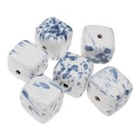 European Porzellan Perlen, Würfel, glaciert, gemischtes Muster, blau, 36x32mm, Bohrung:ca. 5mm, 5PCs/Tasche, verkauft von Tasche