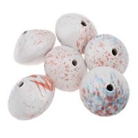 European Porzellan Perlen, flache Runde, glaciert, gemischte Farben, 42x30mm, Bohrung:ca. 5mm, 5PCs/Tasche, verkauft von Tasche