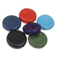 European Porzellan Perlen, flache Runde, glaciert, keine, 41x13mm, Bohrung:ca. 4mm, 10PCs/Tasche, verkauft von Tasche