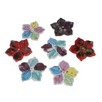 Porzellan Schmuckperlen, Blume, Handzeichnung, gemischtes Muster, 64x64x5mm, Bohrung:ca. 2mm, 10PCs/Tasche, verkauft von Tasche