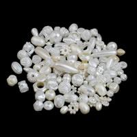 ABS-Kunststoff-Perlen, weiß, 5x10mm-10x30mm, Bohrung:ca. 2-5mm, ca. 600PCs/Tasche, verkauft von Tasche