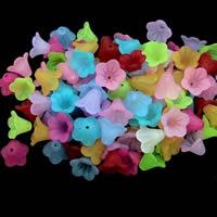 Matt Acryl Perlen, Blume, satiniert, gemischte Farben, 12-14mm, Bohrung:ca. 1-2mm, 100PCs/Tasche, verkauft von Tasche