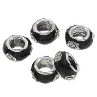 Strass Zinklegierung Perlen, Trommel, Platinfarbe platiniert, Emaille & mit Strass & großes Loch, keine, frei von Blei & Kadmium, 7x13mm, Bohrung:ca. 6.5mm, 100PCs/Tasche, verkauft von Tasche