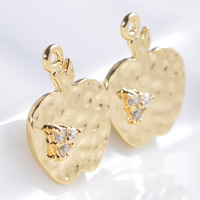 24K Gold Anhänger, Messing, Apfel, 24 K vergoldet, mit Strass, frei von Blei & Kadmium, 15x12x1mm, Bohrung:ca. 1-2mm, 20PCs/Tasche, verkauft von Tasche