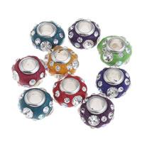 Indonesien European Perlen, mit Messing, Trommel, Platinfarbe platiniert, ohne troll & mit Strass, keine, 12x8mm, Bohrung:ca. 4mm, 10PCs/Tasche, verkauft von Tasche