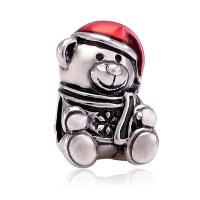 Europa Beads Weihnachten, Zinklegierung, Bär, antik silberfarben plattiert, Weihnachtsschmuck & ohne troll & Emaille, frei von Nickel, Blei & Kadmium, 14.30x17.70mm, Bohrung:ca. 4.5-5mm, 20PCs/Menge, verkauft von Menge