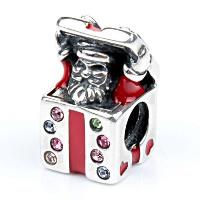 Europa Beads Weihnachten, Messing, Geschenk Form, antik silberfarben plattiert, Weihnachtsschmuck & ohne troll & Emaille & mit kubischem Zirkonia, frei von Nickel, Blei & Kadmium, 9.30x13.80mm, Bohrung:ca. 4.5-5mm, verkauft von PC