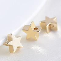 24K Gold Perlen, Messing, Stern, 24 K vergoldet, frei von Blei & Kadmium, 7x3.5mm, Bohrung:ca. 1.2mm, 20PCs/Tasche, verkauft von Tasche