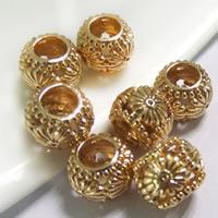 24K Gold Perlen, Messing, Trommel, 24 K vergoldet, ohne troll, frei von Blei & Kadmium, 10x8mm, Bohrung:ca. 5mm, 20PCs/Tasche, verkauft von Tasche
