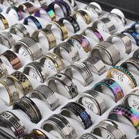 Edelstahl Ringe, gemischt, 4x18mm-11x24mm, Größe:5.5-10, 100PCs/Box, verkauft von Box