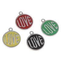 Edelstahl Schmuck Anhänger, flache Runde, Wort Liebe, Emaille, keine, 16x20x2mm, Bohrung:ca. 1.5mm, verkauft von PC