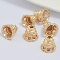 Messing Perlenkappe, 24 K vergoldet, frei von Blei & Kadmium, 10x9mm, Bohrung:ca. 1-2mm, 20PCs/Tasche, verkauft von Tasche