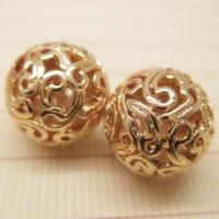 24K Gold Perlen, Messing, rund, 24 K vergoldet, verschiedene Größen vorhanden & hohl, frei von Blei & Kadmium, Bohrung:ca. 1-2mm, 10PCs/Tasche, verkauft von Tasche