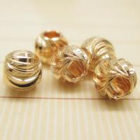 24K Gold Perlen, Messing, rund, 24 K vergoldet, verschiedene Größen vorhanden, frei von Blei & Kadmium, Bohrung:ca. 1-2mm, 10PCs/Tasche, verkauft von Tasche