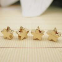 24K Gold Perlen, Messing, Stern, 24 K vergoldet, frei von Blei & Kadmium, 5x2.6mm, Bohrung:ca. 1-2mm, 10PCs/Tasche, verkauft von Tasche