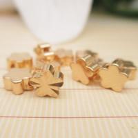 24K Gold Perlen, Messing, Blume, 24 K vergoldet, frei von Blei & Kadmium, 5mm, Bohrung:ca. 1-2mm, 10PCs/Tasche, verkauft von Tasche