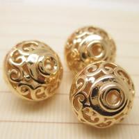 24K Gold Perlen, Messing, Laterne, 24 K vergoldet, verschiedene Größen vorhanden & hohl, frei von Blei & Kadmium, Bohrung:ca. 1-2mm, 10PCs/Tasche, verkauft von Tasche