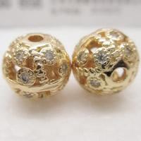 24K Gold Perlen, Messing, rund, 24 K vergoldet, mit Strass & hohl, frei von Blei & Kadmium, 10mm, Bohrung:ca. 1-2mm, verkauft von PC