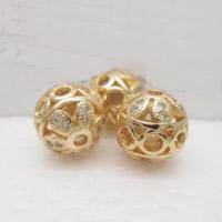 24K Gold Perlen, Messing, rund, 24 K vergoldet, mit Strass & hohl, frei von Blei & Kadmium, 9.5mm, Bohrung:ca. 1-2mm, verkauft von PC
