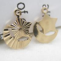 24K Gold Anhänger, Messing, Mond und Sterne, 24 K vergoldet, frei von Blei & Kadmium, 12x9mm, Bohrung:ca. 1-2mm, 10PCs/Tasche, verkauft von Tasche