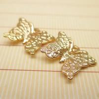 24K Gold Anhänger, Messing, Schmetterling, 24 K vergoldet, frei von Blei & Kadmium, 11x9mm, Bohrung:ca. 1-2mm, 10PCs/Tasche, verkauft von Tasche