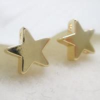 24K Gold Perlen, Messing, Stern, 24 K vergoldet, Doppelloch, frei von Blei & Kadmium, 7x2.5mm, Bohrung:ca. 1-2mm, 10PCs/Tasche, verkauft von Tasche